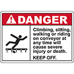 DANGER Keep Off Conveyor ANSI Sign w/Symbol