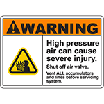 WARNING High Pressure Air Can Cause Injury Sign