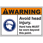 WARNING Avoid Head Injury Sign