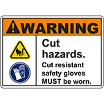 WARNING Cut Hazards Sign