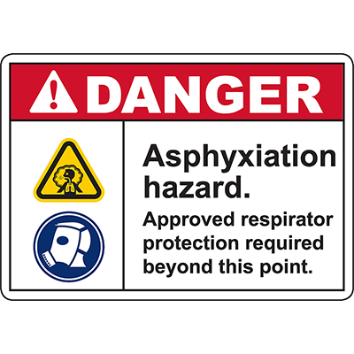 DANGER Asphyxiation Hazard Sign