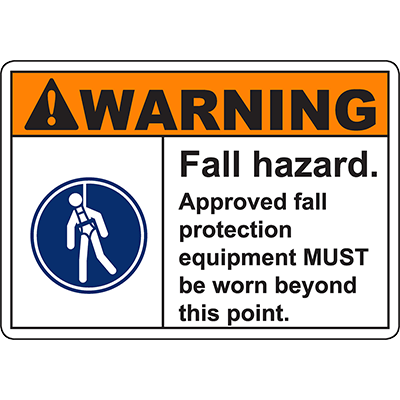 WARNING Fall Hazard PPE MUST be worn beyond this point Sign