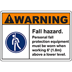 WARNING Fall Hazard PPE equipment must be worn Sign