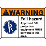 WARNING Fall Hazard PPE MUST be worn in this area Sign