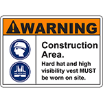 WARNING Construction Area Hard hat and high visibility vest Sign