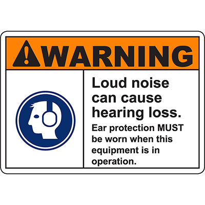 WARNING Loud Noise Can Cause Hearing Loss Sign