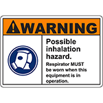 WARNING Possible Inhalation Hazard Sign