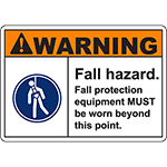 WARNING Fall Hazard Sign