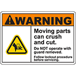 WARNING Moving Parts Follow Procedure Sign w/Hand Crush Symbol