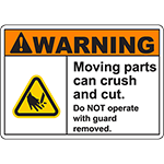 WARNING Moving Parts can Cut hand with guard removed Sign