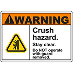 WARNING Crush Hazard Stay clear Sign