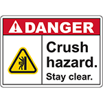 DANGER Crush Hazard Sign