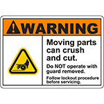 WARNING Moving Parts Follow Procedure Sign w/Belt Pinch Symbol