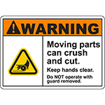 WARNING Moving Parts Can Crush And Cut Sign w/Belt Pinch Symbol