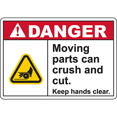 DANGER Moving Parts Keep hands clear Sign (Belt pinch)