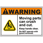 WARNING Moving Parts Can Crush And Cut Sign w/Gear Crush Symbol