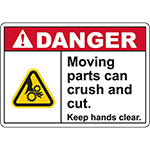 DANGER Moving Parts Keep hands clear Sign (Crush gear)