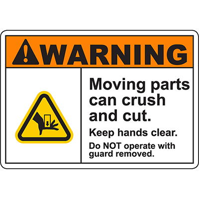 WARNING Moving Parts Can Crush And Cut Sign w/Hand Crush Symbol