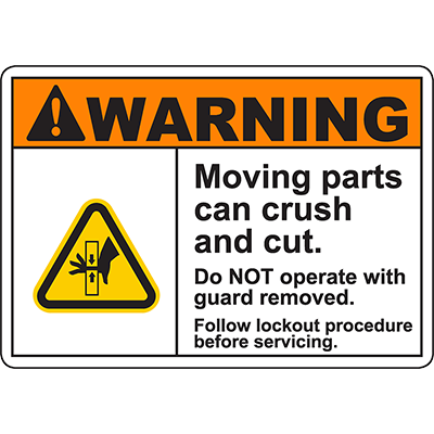 WARNING Moving Parts Follow Procedure Sign w/Hand Pinch Symbol