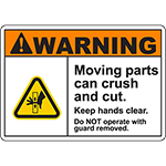 WARNING Moving Parts Can Crush And Cut Sign w/Hand Pinch Symbol