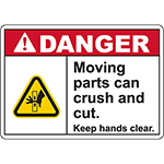 DANGER Moving Parts Keep hands clear Sign (Belt pinch left)