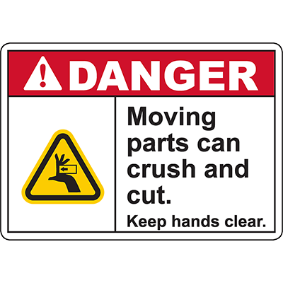DANGER Moving Parts Keep hands clear Sign (Crush left)