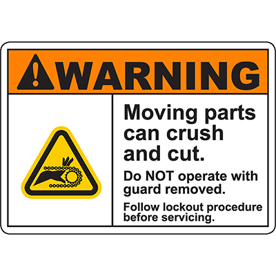 WARNING Moving Parts Follow Procedure Sign w/Chain Pinch Symbol