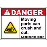 DANGER Moving Parts Keep hands clear Sign (Chain pinch)