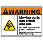 WARNING Moving Parts Follow Procedure Sign w/Roller Pinch Symbol