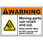 WARNING Moving Parts Can Crush And Cut Sign w/Roller Pinch Symbol
