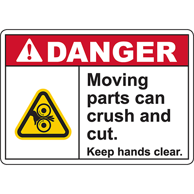 DANGER Moving Parts Keep hands clear Sign (Roller pinch)