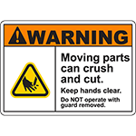 WARNING Moving Parts Can Crush And Cut Sign w/Hand Cut Symbol