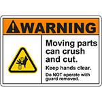 WARNING Moving Parts Can Crush And Cut Sign w/Offset Pinch Symbol