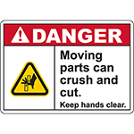DANGER Moving Parts Keep hands clear Sign (Offset pinch)