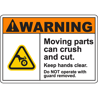 WARNING Do NOT operate with guard removed Sign w/Saw Symbol
