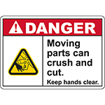 DANGER Moving Parts Keep hands clear Sign (Cut fan)