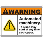 WARNING Automated Machinery Sign
