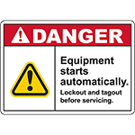 DANGER Equipment Starts Automatically ANSI Sign