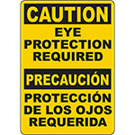 CAUTION Eye Protection Required Bilingual Sign