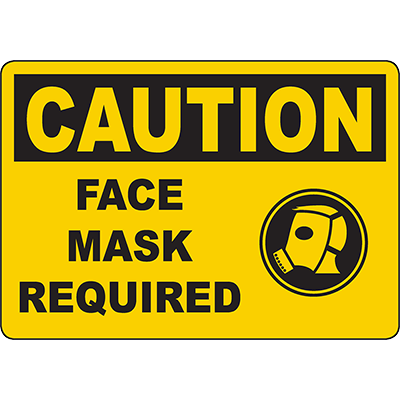 CAUTION Face Mask Required Sign