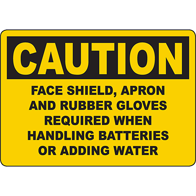 CAUTION Gloves Required When Handling Batteries Sign