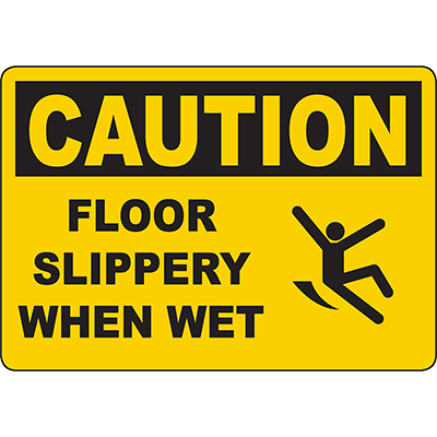 CAUTION Floor Slippery When Wet Sign w/Symbol