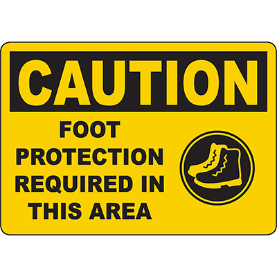 CAUTION Foot Protection Required In This Area Sign