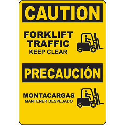 CAUTION Forklift Traffic Bilingual Sign