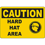 CAUTION Hard Hat Area Sign w/Symbol