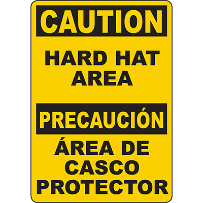 CAUTION Hard Hat Area Bilingual Sign