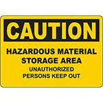 CAUTION Hazardous Area Unauthorized Keep Out Sign