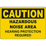 CAUTION Hazardous Noise Area Hearing Protection Required Sign