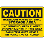CAUTION Hazardous Waste Material Storage Area Sign