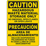 CAUTION Hazardous Waste Material Storage Only Bilingual Sign